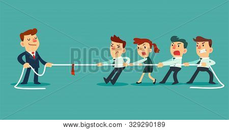 Business Team Pulling Rope Against Successful Businessman. Competing In Tug Of War Competition. Busi
