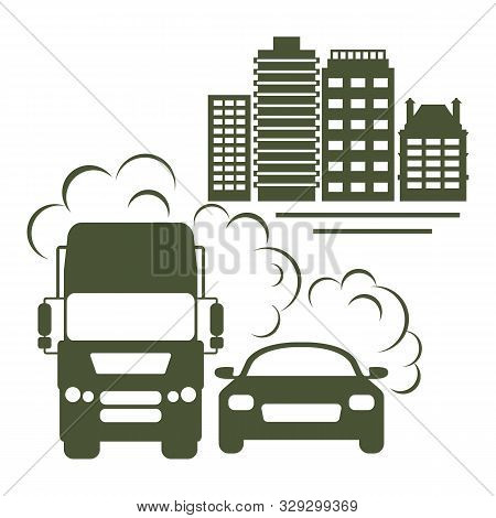 Vector Illustration With Car, Emits Smog Exhaust, City. Environmental Pollution Concept. Emissions C