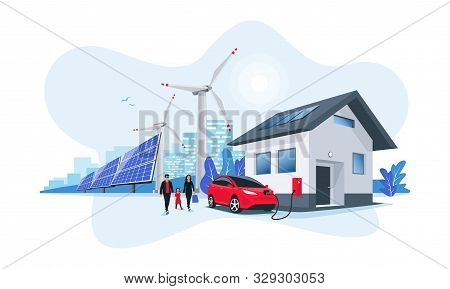 Electric Car Charging At Home With Solar Panels And Wind Power Station And Green City Skyline