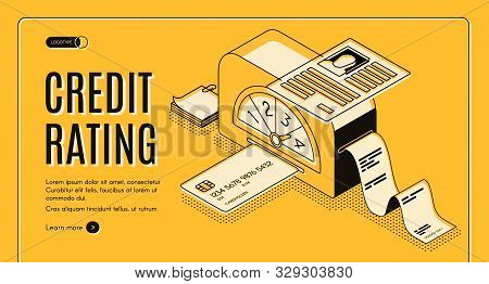 Credit Rating Analytics, Scoring Online Service Isometric Web Banner. Banking Card In Calculation Ma