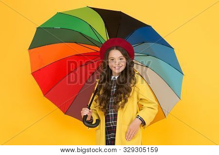 She Wont Get Wet On September 1. Cute Schoolgirl In Autumn Style Hold Umbrella On September 1. Small