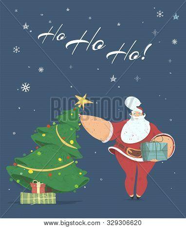 Santa Bringing Gift Box Under Decorated Fir Tree Saying Ho Ho Ho On Dark Snowy Background. Merry Chr