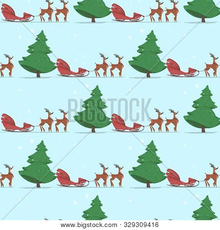 Seamless Print With Empty Santa Claus Sledge Pulled With Two Reindeer On Blue Background With Fir Tr