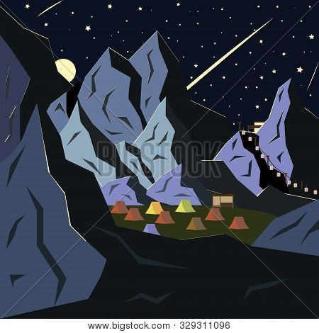 Mountain Landscape, Campground And Falling Stars. Vector Illustration In A Flat Style.