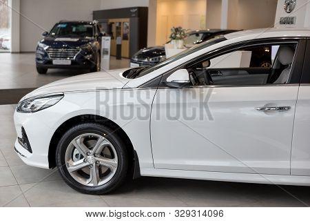 Russia, Izhevsk - October 10, 2019: New Modern Sonata In The Hyundai Showroom. Famous World Brand.