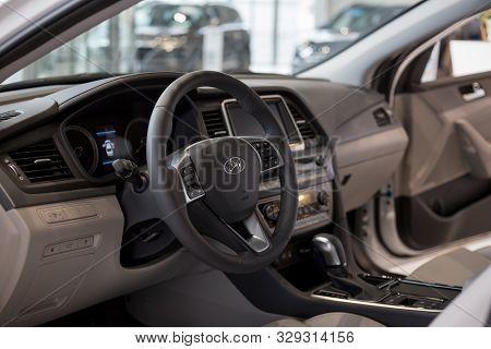 Russia, Izhevsk - October 10, 2019: Hyundai Showroom. Interior Of New Modern Sonata With Automatic T