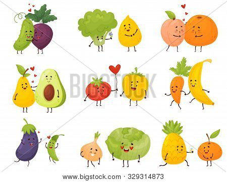Set Of Different Cartoon Vegetables And Fruits. Vector Illustration On A White Background.