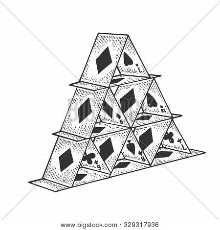 Card Tower House Of Cards Sketch Sketch Engraving Vector Illustration. Scratch Board Style Imitation