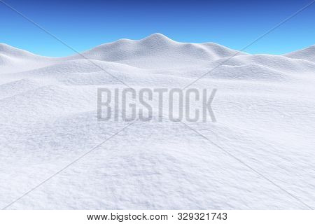 White Snow Hills And Smooth Snow Surface Under Bright Clear Winter Blue Sky, Winter Snow Background,