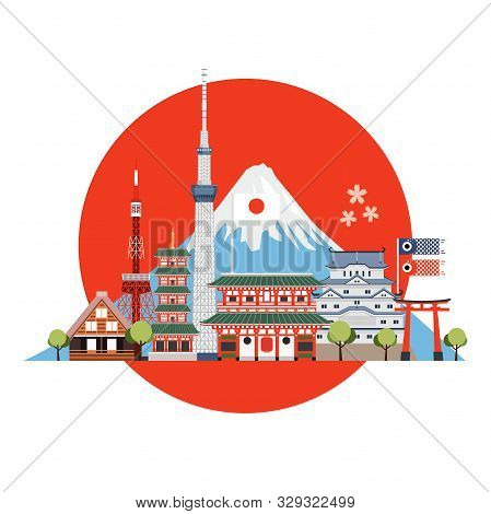 Japan Travel Places And Landmarks. Travel Postcard, Tour Advertising Of Japan.