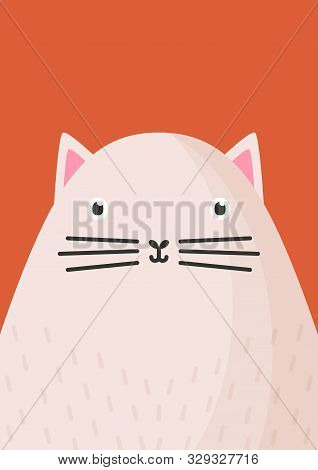 Cute Cat Snout Flat Vector Illustration. Adorable Pet Face Background In Cartoon Style. Funny Close