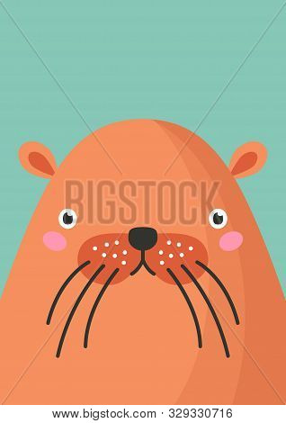Cute Beaver Snout Flat Vector Illustration. Adorable Wildlife Forest Animal Muzzle Cartoon Colorful