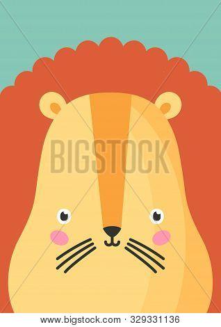 Cute Lion Snout Flat Vector Illustration. Adorable Wildlife Animal Muzzle Cartoon Colorful Backgroun