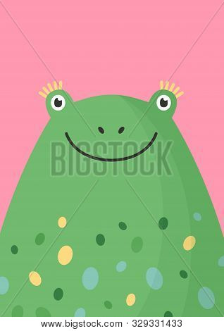 Cute Frog Head Flat Vector Illustration. Adorable Wildlife Amphibian Face Decorative Background In C