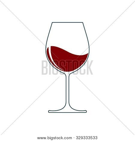 Wine Glass With Wine Graphic Icon. Wine Glass Sign Isolated On White Background. Vector Illustration