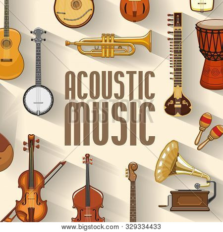 Musical Instruments And Sound Band Equipment. Vector Maracas And Banjo, Jazz Trumpet Or Saxophone An
