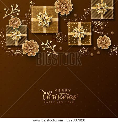 Merry Christmas And Happy New Year Card. Christmas Vector Top View Background With Fir Twigs, Gifts