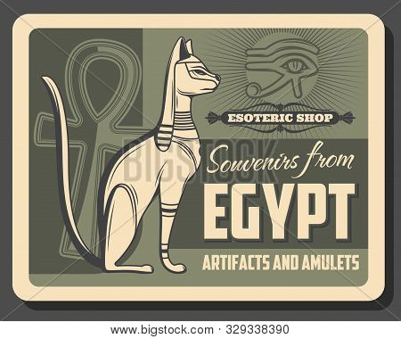 Vector Egypt Pharaoh Cat Deity, Horus Eye And Ankh Hieroglyph Symbol. Ancient Egypt Vintage Retro Po