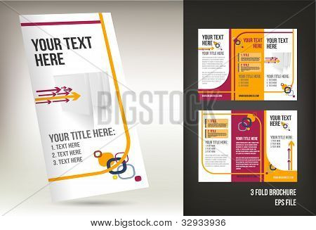 Vector tri fold brochure isolated on background poster