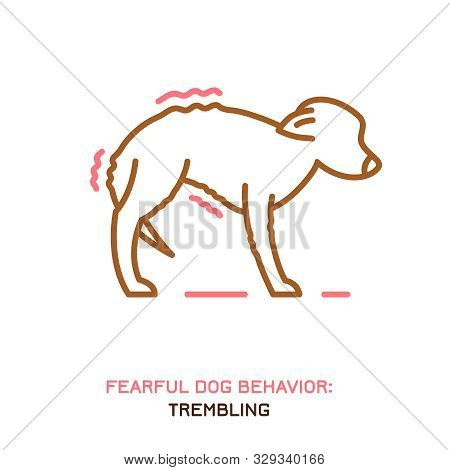 Dog Fearful Behavior Icon. Domestic Animal Or Pet Tail Language. A Trembling Dog. Doggy Reaction. Si
