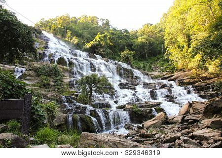 Maeya Waterfalls In Tropical Forest ,chiang Mai ,thailand.