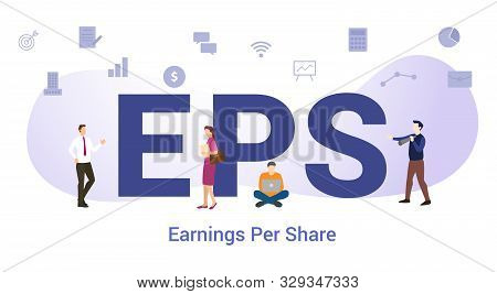 Eps Earnings Per Share Concept With Big Word Or Text And Team People With Modern Flat Style - Vector