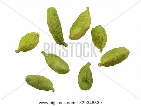 Green Cardamom Pods Isolated On White Background With Copy Space For Text Or Images. Spices, Food, C