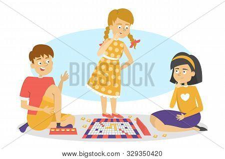 Children Play Board Game. Friends Have Fun.