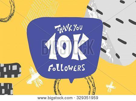 10k Folowers Social Media Post. 10000 Subscribers Post. Vector Illustration.