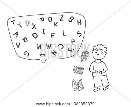 Dyslexia Concept. Boy With Books And Letters. Vector Illustartion In Doodle Style.