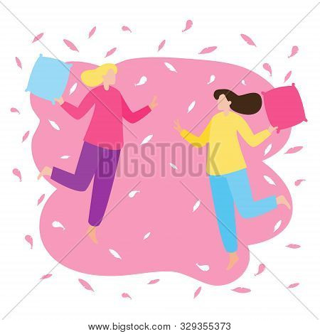Young Lesbian Couple Having Fun At A Pajama Sleepover Party. Two Girls Fight With Pillows. Colorful