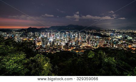 Seoul City Wide Angle Nightscape From Namsan Park In Seoul South Korea