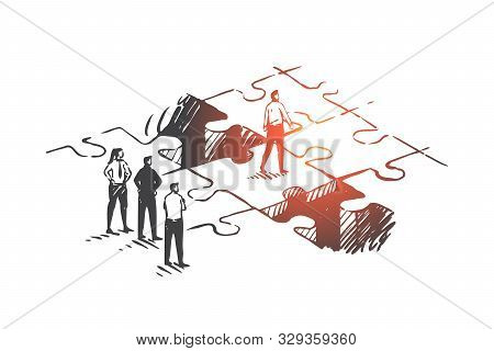 Personal Development, Job Promotion, Leadership Concept Sketch. Businessmen And Businesswoman Standi
