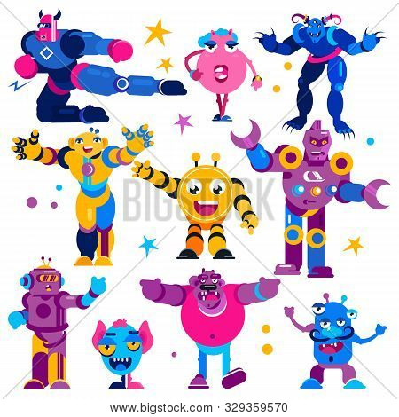 Monster Vector Cartoon Alien Monstrous Transformer Robots Character Of Monstrosity And Alienation Il