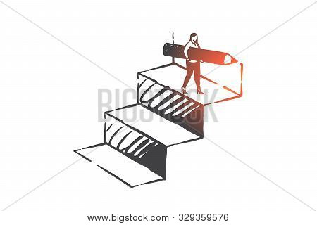 Personal Development, Career Ladder, Self Improvement Concept Sketch. Businesswoman Character Achiev