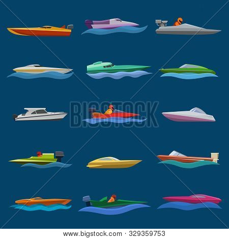 Boat Vector Speed Motorboat Yacht Traveling In Ocean Illustration Nautical Set Of Summer Vacation On
