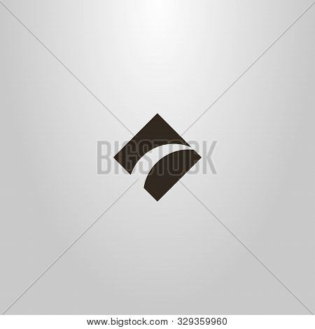 Black And White Simple Vector Flat Art Sign Of Rhombus Separated By A Tapering Arc
