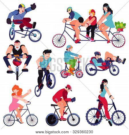 Bicycle Vector Bikers People Character Biking On Cycle Transport Illustration Set Of Man Woman Kid B