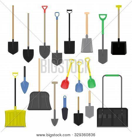Shovel Vector Gardening Shoveling Equipment Spade Object Of Agriculture Work In Garden Illustration