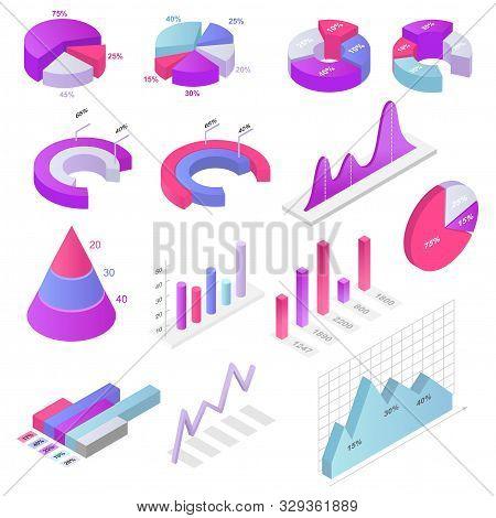 Chart Vector Business Diagram Infochart Graph Design For Report Presentation Illustration Isometric