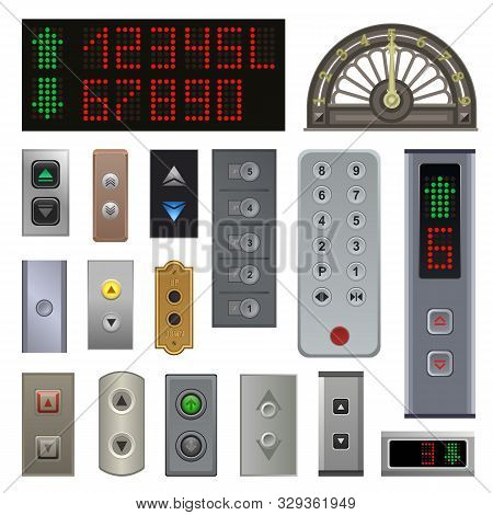 Elevator Buttons Vector Lift Metal Push Button Up Down On Digital Control Panel Numbers In Business