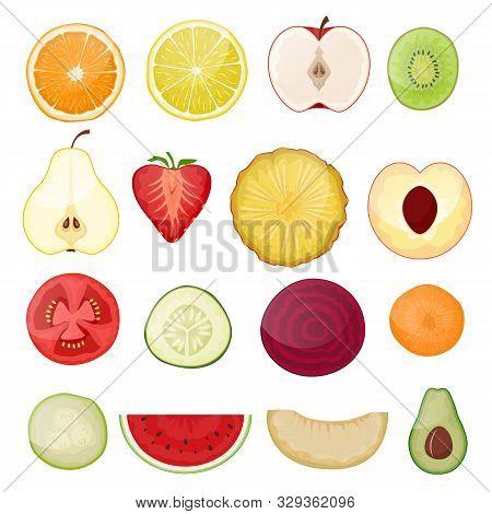 Fruit Slice Vector Fresh Fruity Sliced Food Juicy Orange Lemon Citrus Cut Illustration Set Of Health