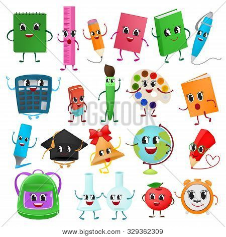 School Supplies Kawaii Vector Schooling Tools Emoticon Pen Colorful Pencils Markers And Student Acce
