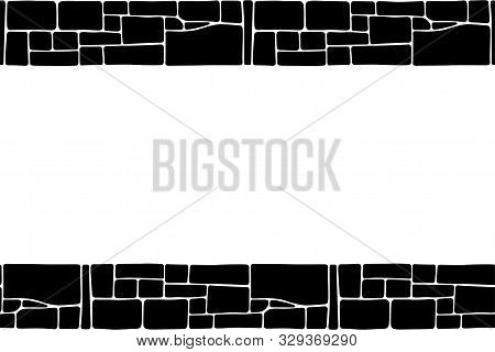 Seamless Stones Border, Stone Wall Texture, Isolated On White Background. Brick Texture Backgrounds,