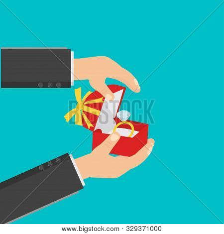 Proposal Marriage, Declaration Of Love. Man Is Holding In Hand An Open Box With A Ring. Vector Illus