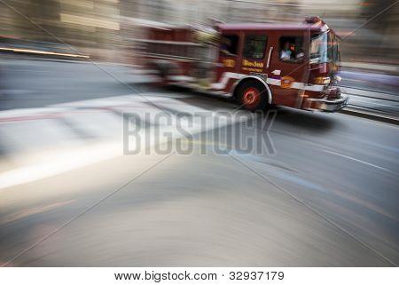 Boston fire truck high speed