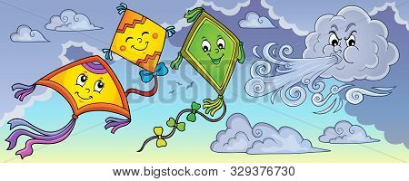 Happy Autumn Kites Topic Image 1 - Eps10 Vector Picture Illustration.
