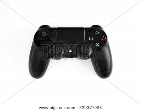 Uk, October 2019 Sony Dualshock Playstation 4 Game Console Controller Remote On White Background