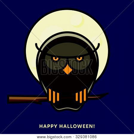 Halloween Owl Sitting On Branch In Moonlight. Vector Illustration, Filled Outline Style.