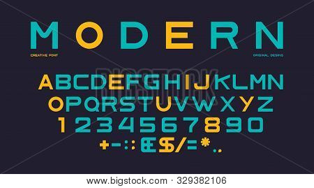Latin Font Alphabet, Numbers And Punctuation, Sans Serif Characters In Modern Style. Abc Uppercase L